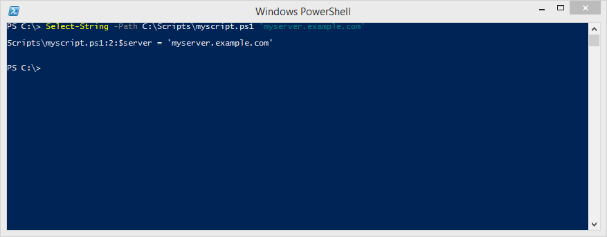 """This command returns the filename, line number, and text where the string """"myserver.example.com"""" was found."""
