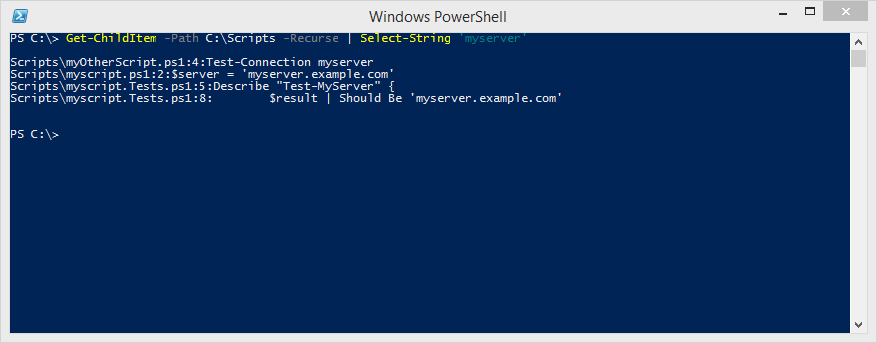 """This command returns multiple filenames, with the lines where each instance of """"myserver"""" was found."""
