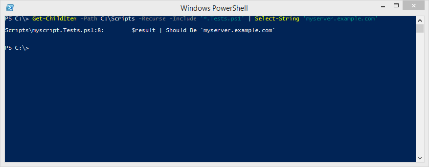 This command only returns one file, since I only have one Pester test in my demo.